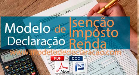 Modelo de Declaração de Isenção de Imposto de Renda