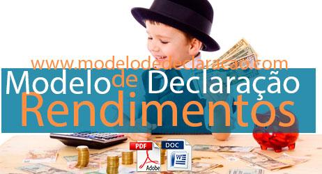 Modelo de declaração de rendimentos